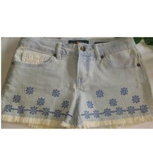 LUCKY BRAND GIRLS EMBROIDERED DENIM SHORTS